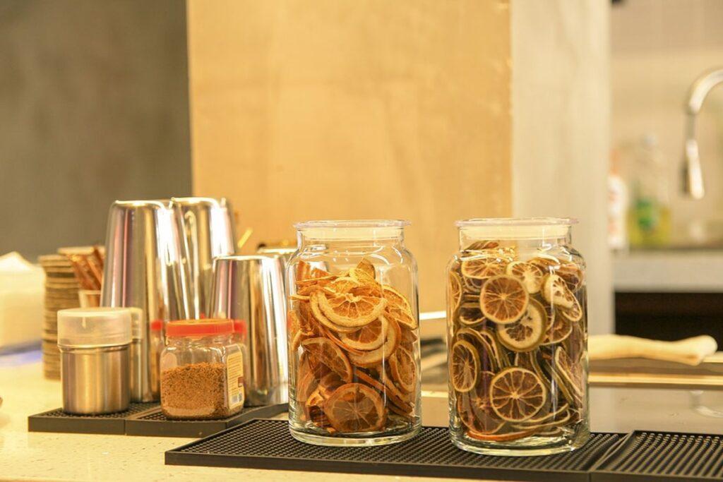 Coffee jar with dried lemons