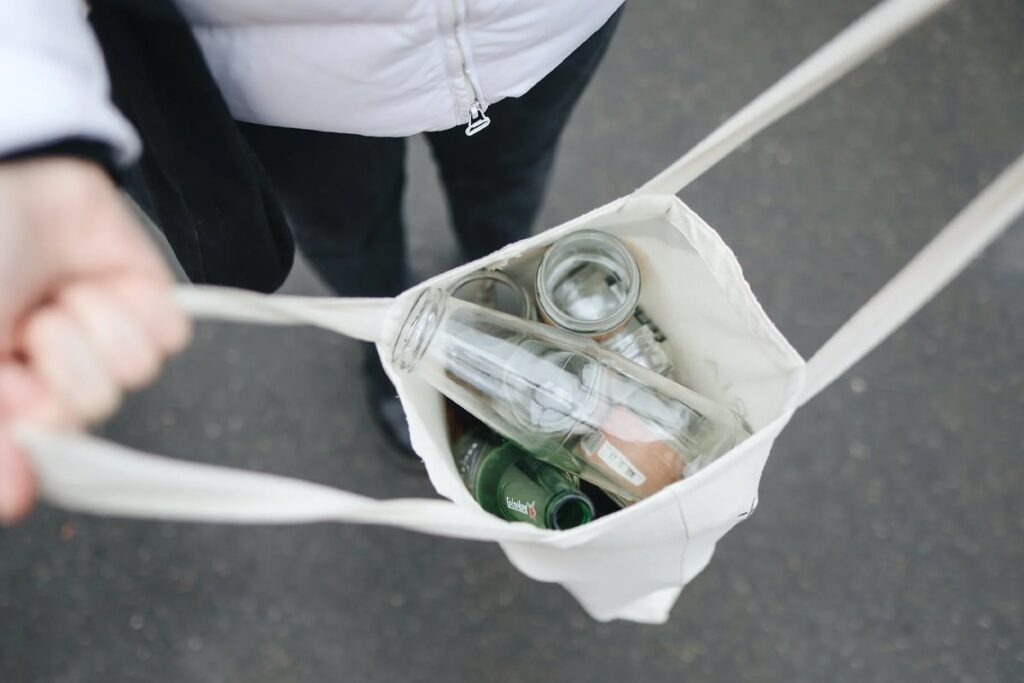 Recycled bottle inside in eco bag